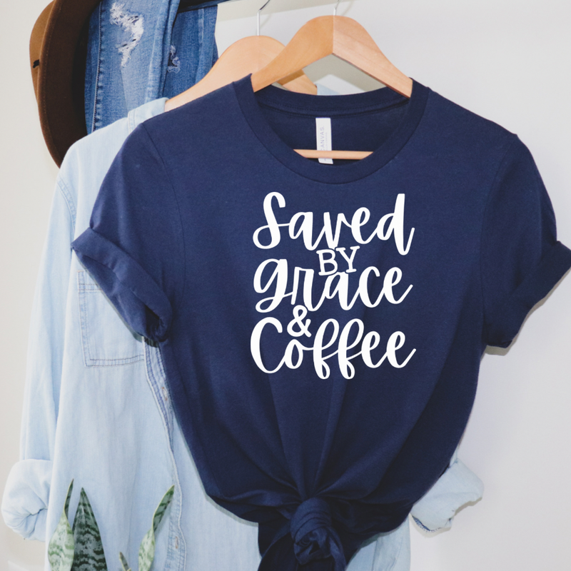Saved By Grace & Coffee Graphic Tee