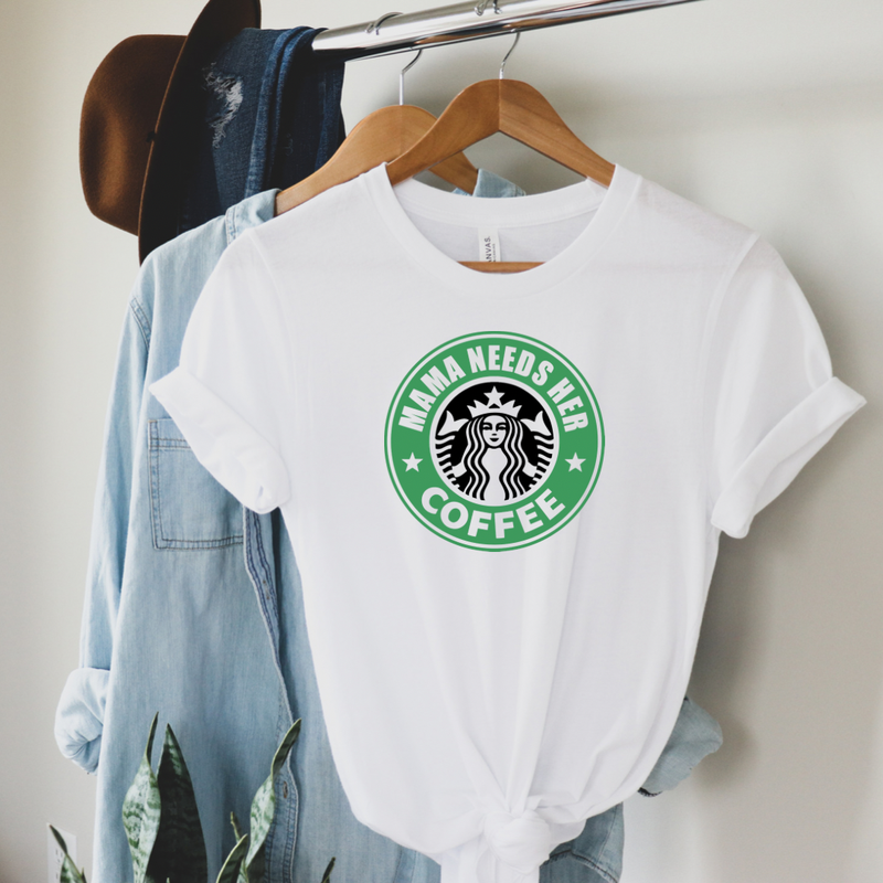 Mama Needs Coffee Graphic Tee - White