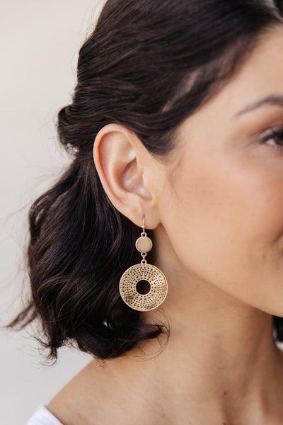 Ornate Circle Hook Drop Earrings