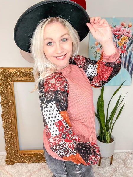 Full Size Run Patchwork Sleeve Contrast Waffle Top