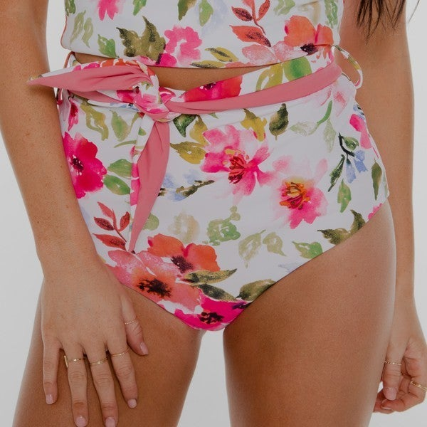 NORI - Pink-Floral Reversible High Rise Wrap Front Bottom