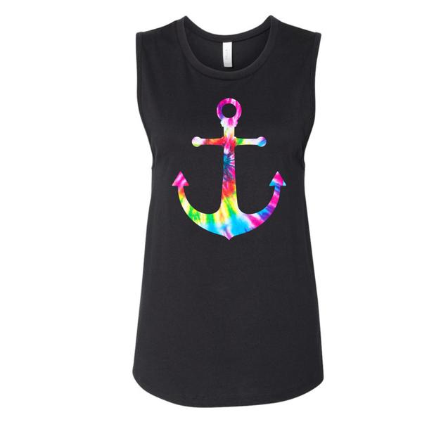 Anchors Away Tie Dye Graphic Tank / Tee