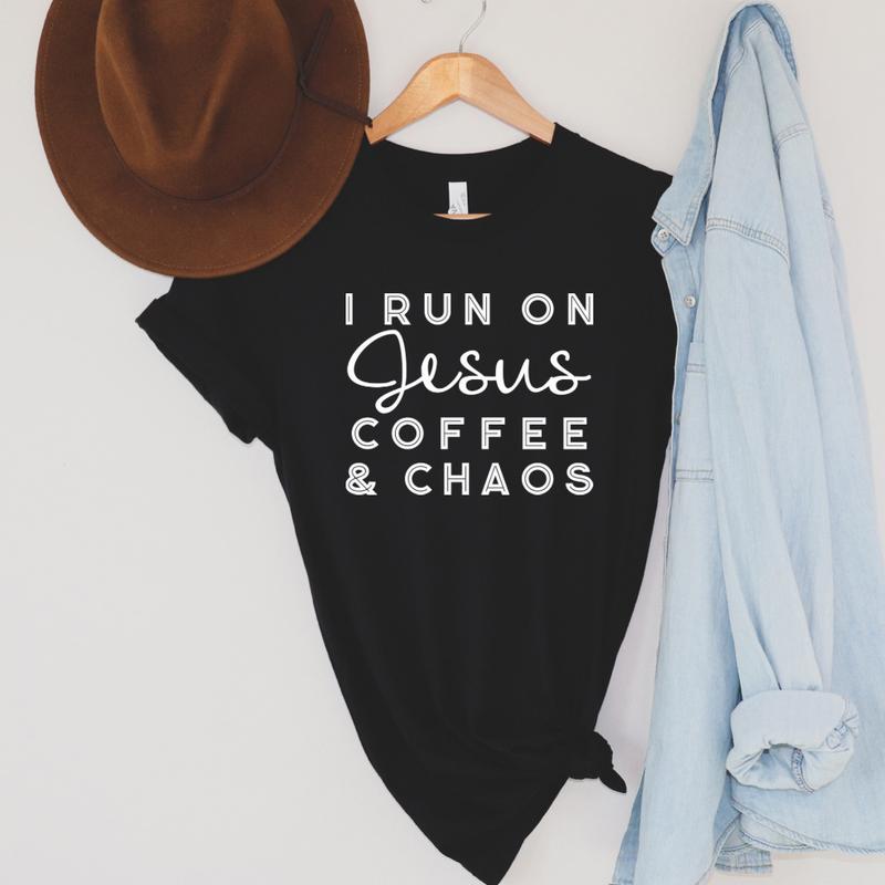 Run On Jesus, Coffee & Chaos Graphic Tee