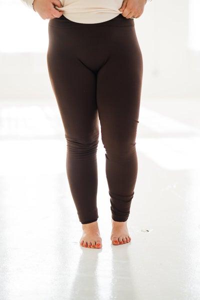 Fleece Lined Leggings In Cocoa