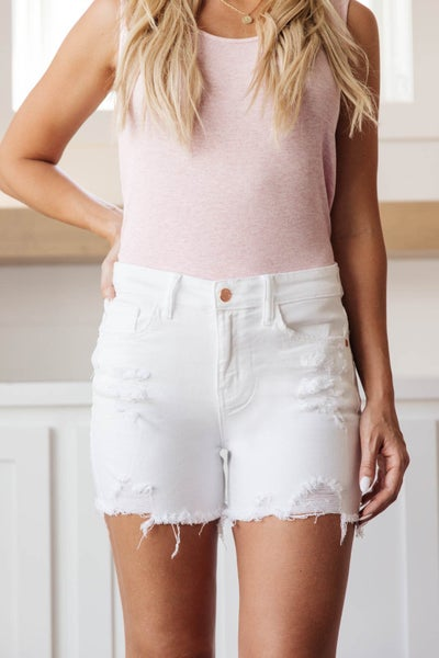 White Out Distressed Shorts