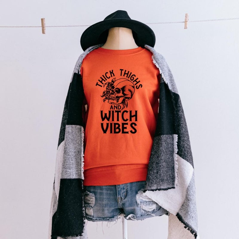 Thick Thighs Witch Vibes Graphic Pullover