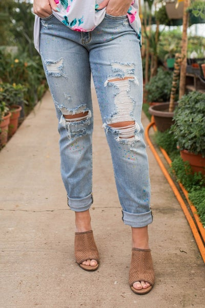 Splattered With Love Judy Blue Boyfriend Jeans
