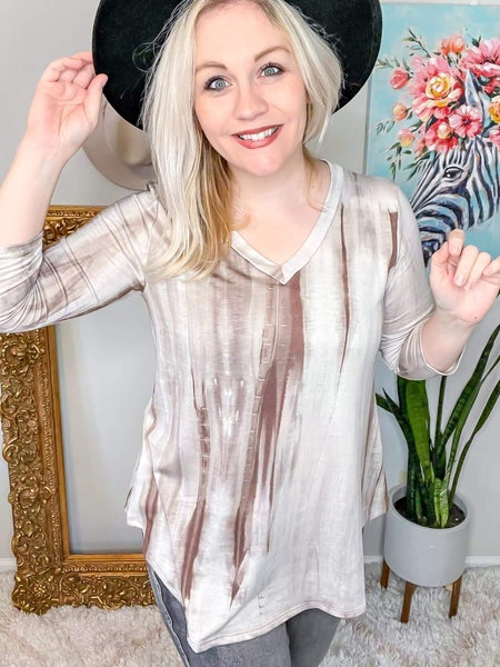 Full Size Run Tie Dye French Terry V-Neck Top