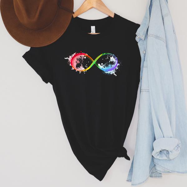 Simple Infinity Rainbow Autism Awareness Graphic Tee