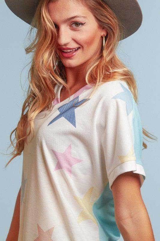 Rainbow Stars V Neck Dolman Sleeve Top
