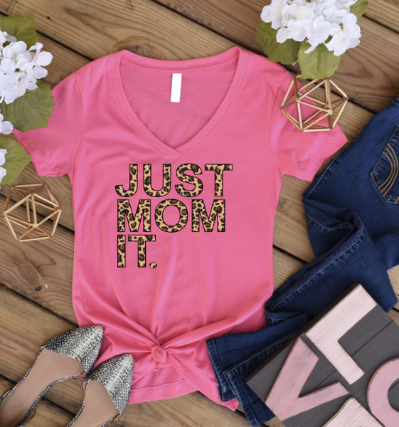 Just Mom It V-Neck Graphic Tee
