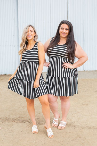 Tiered Decadence Striped Dress