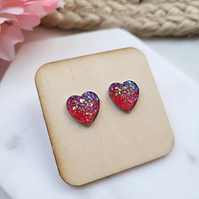 Heart Druzy Stud Earrings - 3 Colors