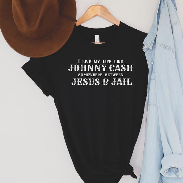 Somewhere Between Jesus and Jail Graphic Tee