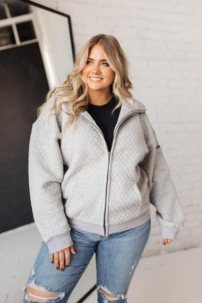 Keep Me Cozy Quilted Jacket in Gray
