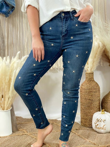 Judy Blue Star Embroidered High Rise Skinny