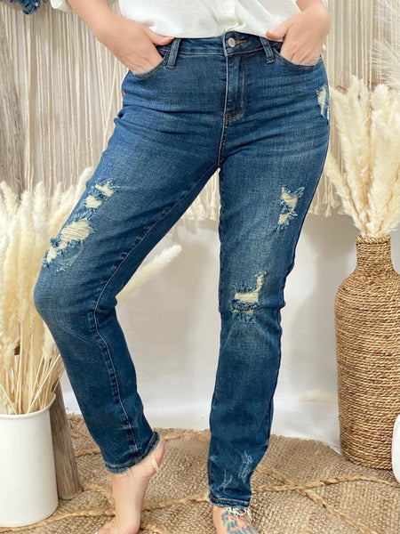 Judy Blue Mid Rise Dark Destroyed Relaxed Fit