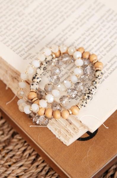 Wood Glass Beaded Bracelet Set