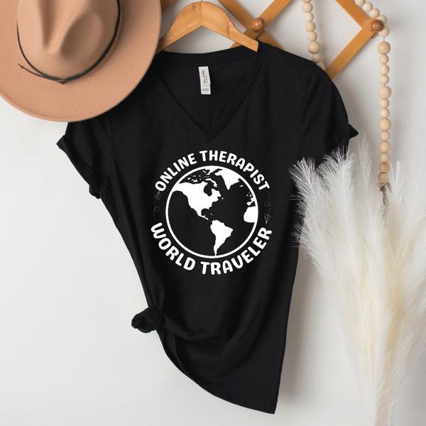 Online Therapist World Traveler Graphic Tee