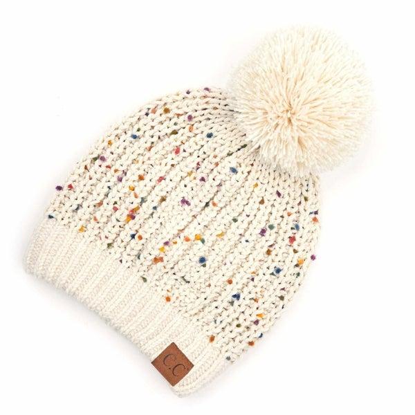Confetti Chenille Knit Pom Beanie