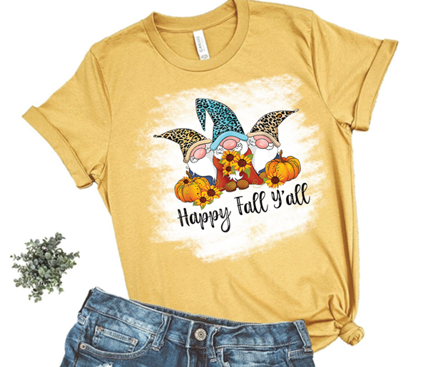 Happy Fall Y'All Gnomes - Distressed Graphic Tee