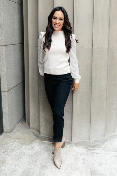 Thrills And Frills Mock Neck Sweater in Ivory