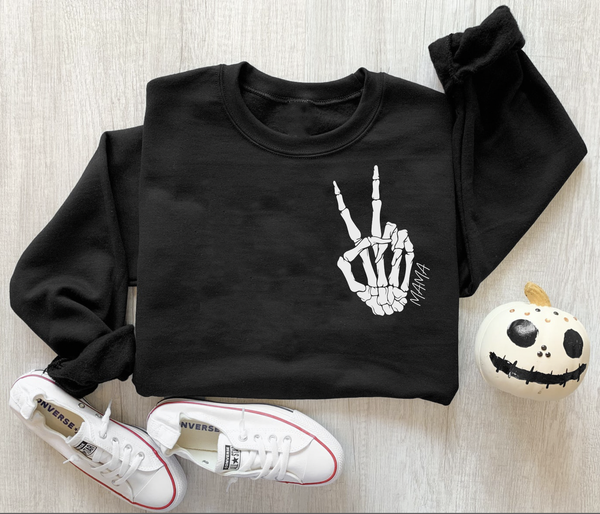 Peace Mama Skeleton Graphic Pullover