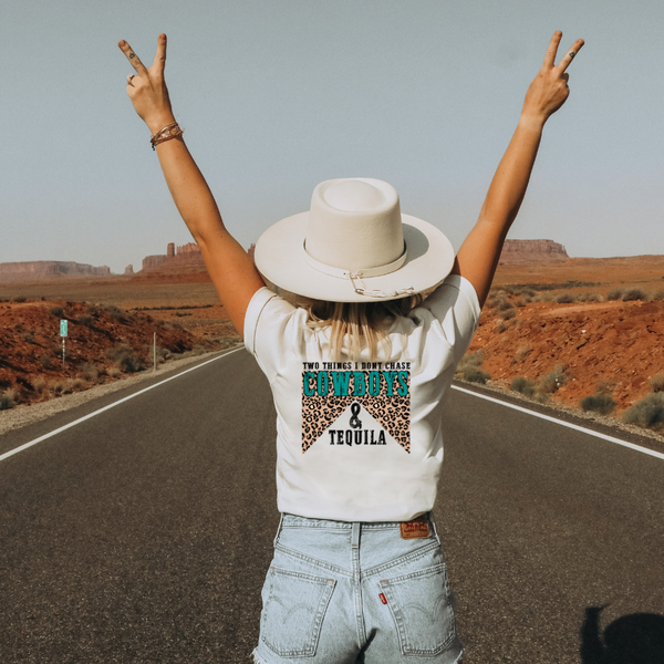 Don't Chase Cowboys & Tequila - Turquoise Leopard -  Graphic Tee