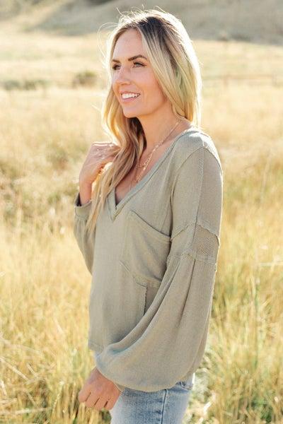Bellissimo Draped V-Neck Sweater in Olive