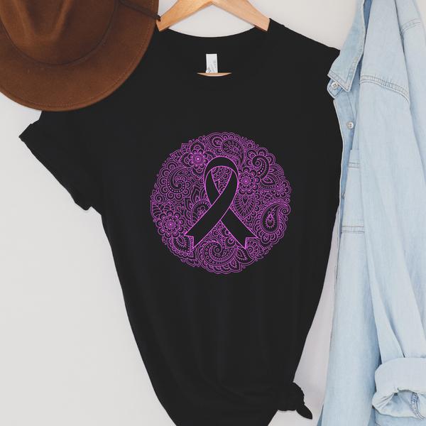 BOHO Breast Cancer Ribbon Graphic Tee