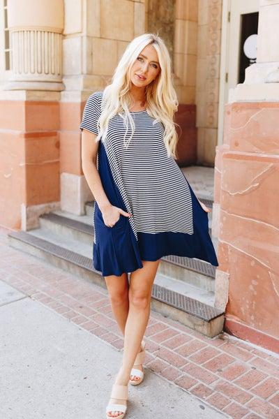 Coastal Stripe A-Line Dress
