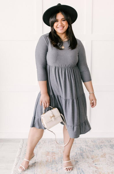 Sara Swiss Dot Dress in Gray
