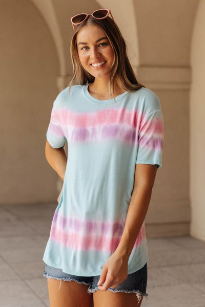 Over the Line Tie Dye Tee in Blue