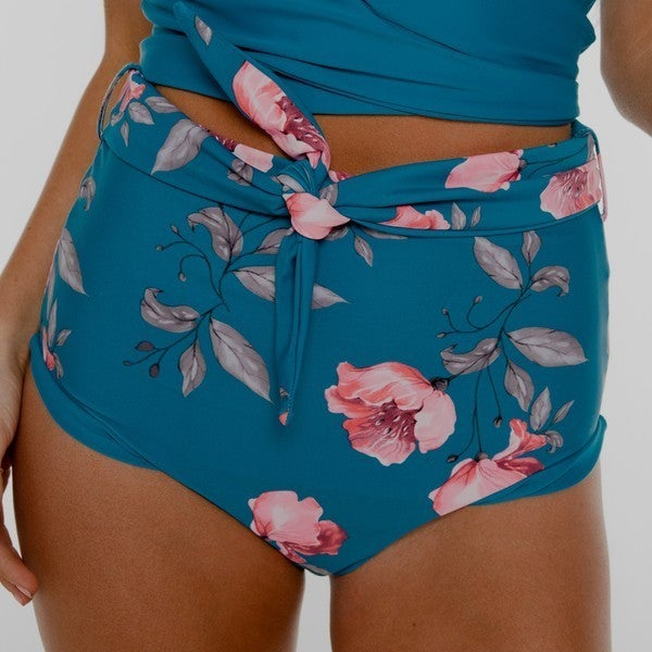 NORI - Blue-Floral Reversible High Rise Wrap Front Bottom