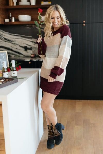 Sentimental Striped Tunic Dress in Burgundy