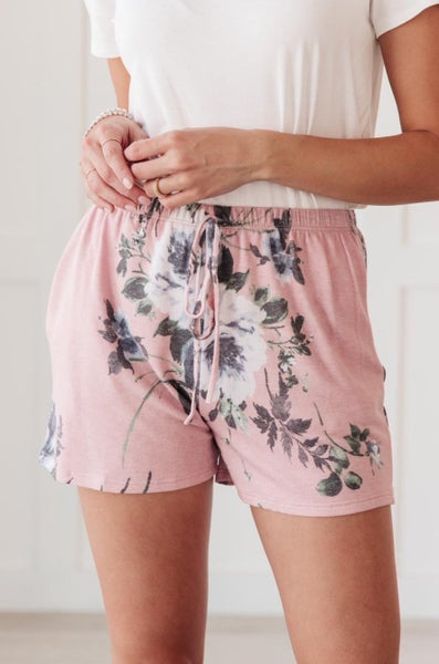 Floral Wild Side Lounge Bottoms In Mauve