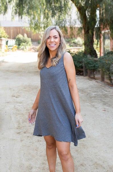 Hot to Trot Sleeveless Swing Dress - Charcoal Stripes