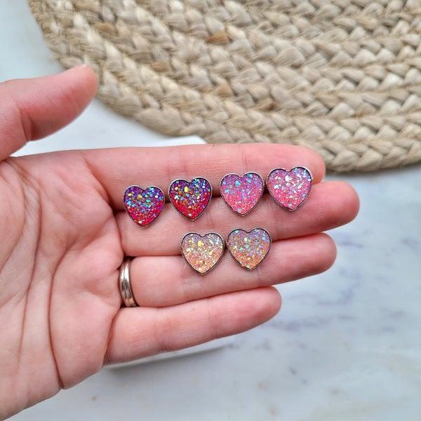 Heart Druzy Stud Earrings - 3 Colors