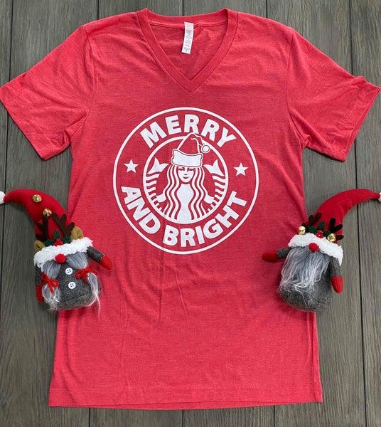 Merry and Bright Starbucks Christmas Graphic Tee