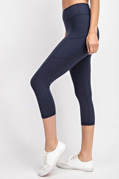 Capri Length Yoga Pants with Pockets - Navy