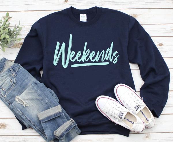 Weekends Graphic Pullover Sweatshirt
