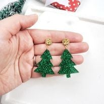 Oh Christmas Tree Earrings with Druzy Studs