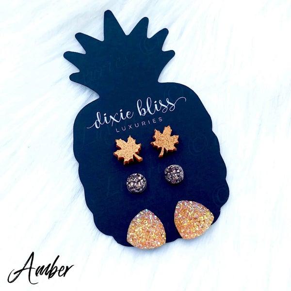 Amber Triple Stud Earring Set