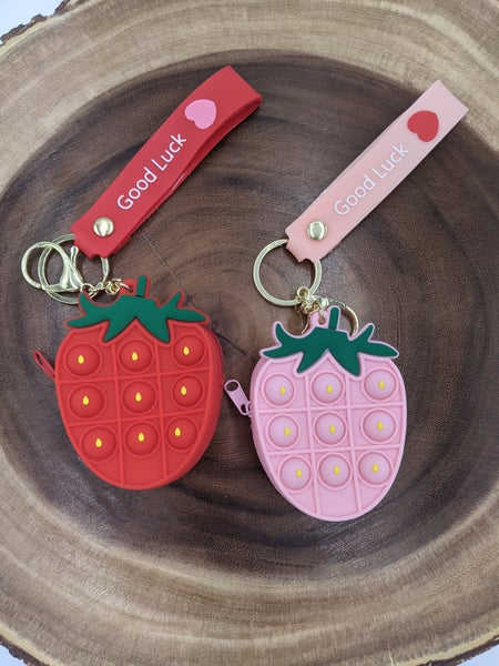Strawberry Pop It Coin Purse