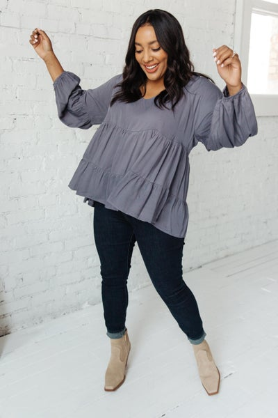 Sassy Swing Top in Charcoal