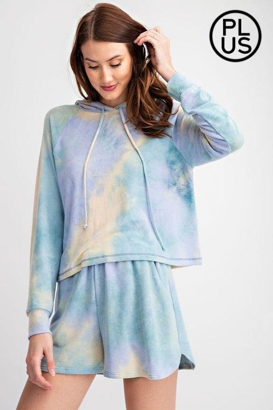 Tie Dye Printed French Terry Hoodie Loungewear Top - Dusty Jade Blue