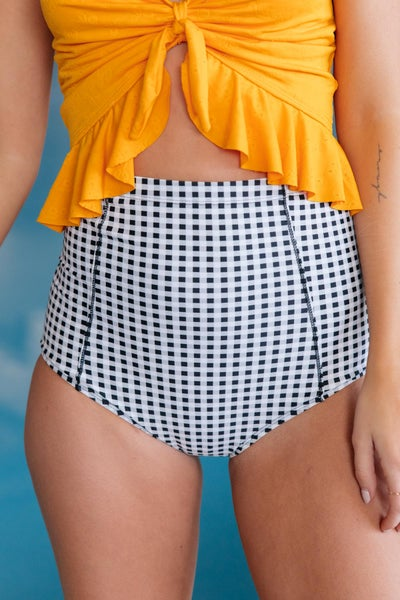 At The Beach Dressed Up in Gingham Swim Bottoms