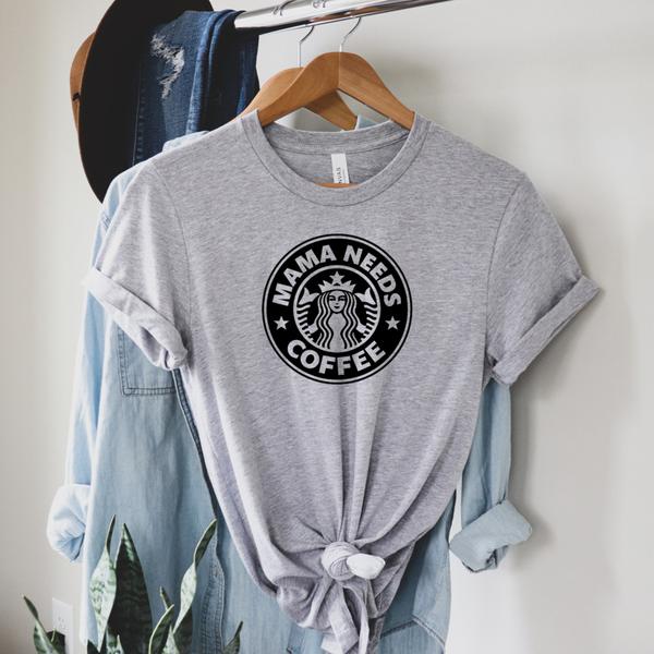 Mama Needs Coffee Graphic Tee - Gray