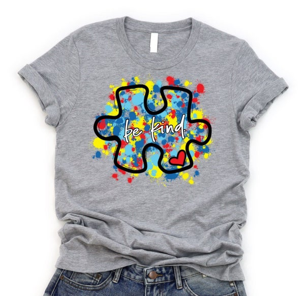 Autism Be Kind Puzzle Piece Graphic Tee