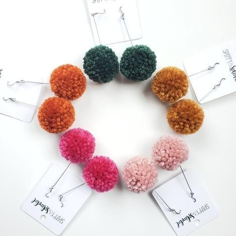 Pom Pom Earrings - 5 Colors